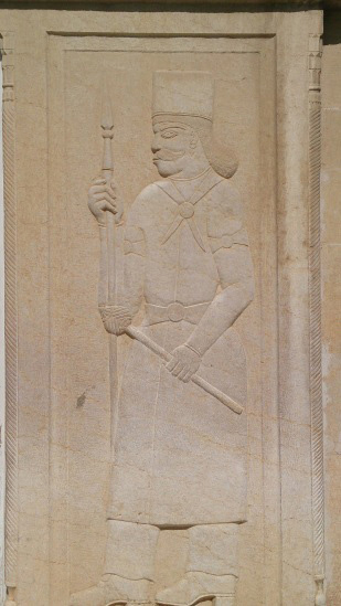 Picture Of A Man In Qajar Clothes Carved On The Pillar Tops