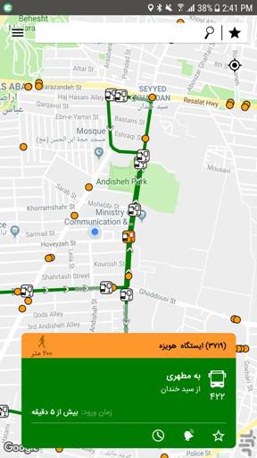 نمایش ایستگاههای اتوبوسها در تهران