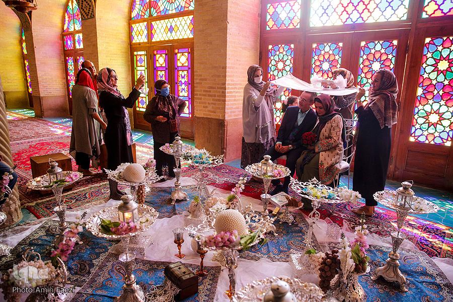 عروسی زوج ایرانی و آلمانی در مسجد نصیر الملک